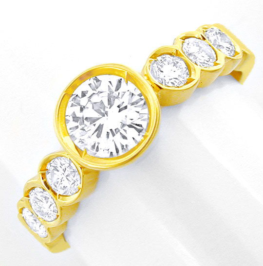 Foto 2, Damen-Brillant-Ring, Halbmemory mit Solitär Luxus! Neu!, S8769