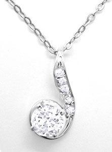 Foto 1, Klassik-Diamantkollier Weissgold mit Solitär Luxus! Neu, S8770