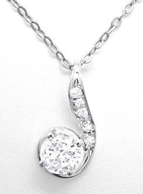 Foto 2, Klassik-Diamantkollier Weissgold mit Solitär Luxus! Neu, S8770