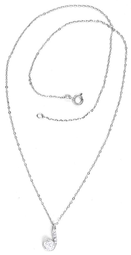 Foto 3, Klassik-Diamantkollier Weissgold mit Solitär Luxus! Neu, S8770