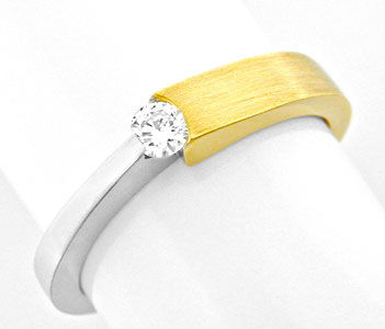Foto 1, Brillant Spannring 18K Bicolor, Top Wesselton Shop Neu!, S8771