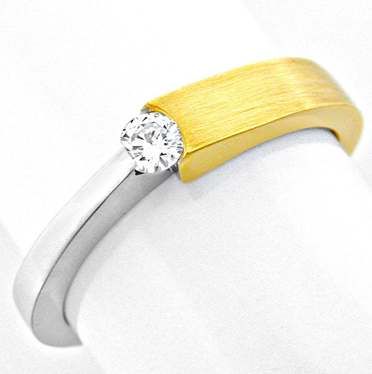 Foto 2, Brillant Spannring 18K Bicolor, Top Wesselton Shop Neu!, S8771