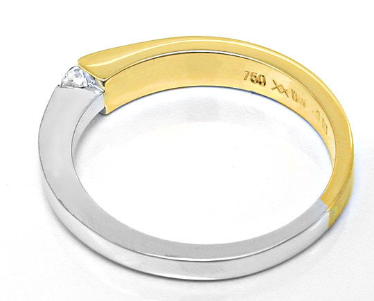 Foto 3, Brillant Spannring 18K Bicolor, Top Wesselton Shop Neu!, S8771