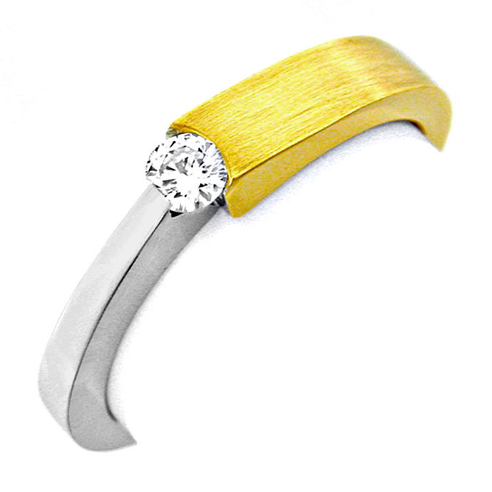 Brillant Spannring 18K Bicolor, Top Wesselton Shop Neu!, Designer Ring