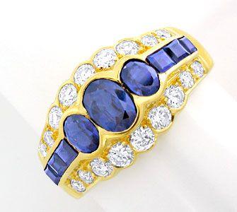 Foto 1, Brillant-Ring mit Spitzen-Safiren 18K River Luxus! Neu!, S8772