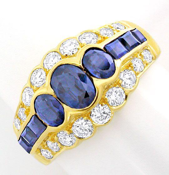 Foto 2, Brillant-Ring mit Spitzen-Safiren 18K River Luxus! Neu!, S8772