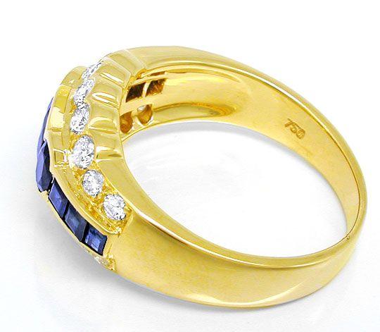 Foto 3, Brillant-Ring mit Spitzen-Safiren 18K River Luxus! Neu!, S8772