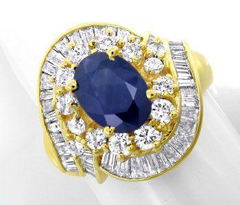 Foto 1, Diamant-Safir-Ring 1,74 und 2,19ct Gelbgold Luxus! Neu!, S8773