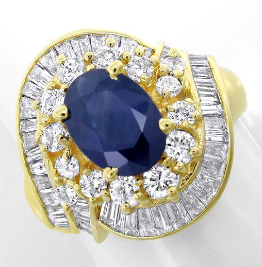 Foto 2, Diamant-Safir-Ring 1,74 und 2,19ct Gelbgold Luxus! Neu!, S8773