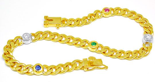 Foto 1, Brillant-Armband Safir Rubin Smaragd 18K/750 Luxus! Neu, S8775