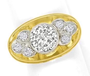 Foto 1, Diamantring 40er-Jahre 2,07ct Solitär Gelbgold-Weißgold, S8780