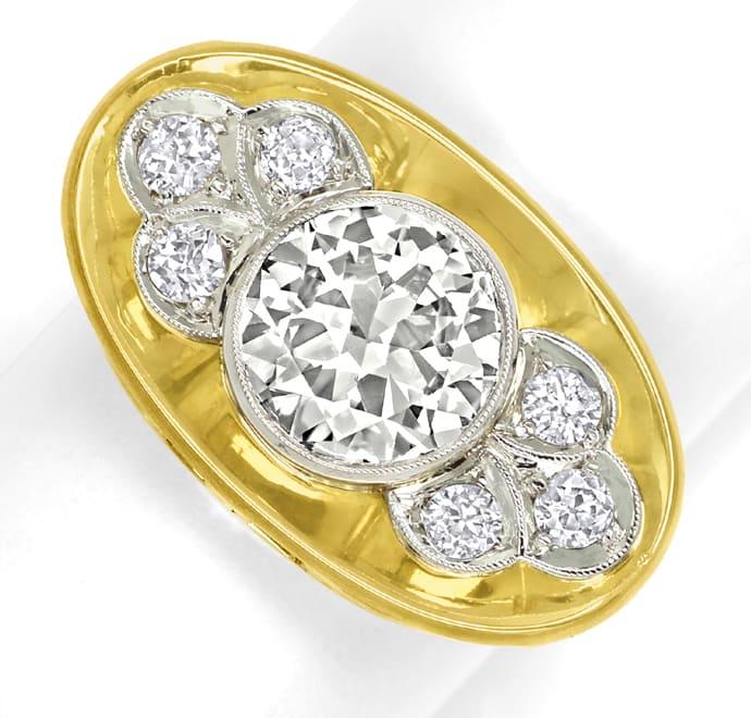 Foto 2, Diamantring 40er-Jahre 2,07ct Solitär Gelbgold-Weißgold, S8780