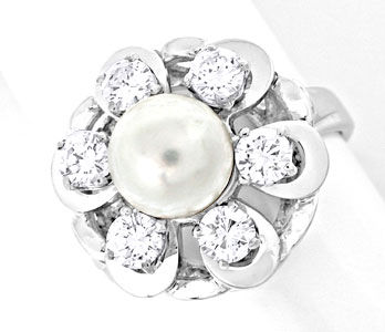 Foto 1, Brillant-Akoya-Zuchtperl-Ring 1A-Handarbeit Luxus! Neu!, S8786
