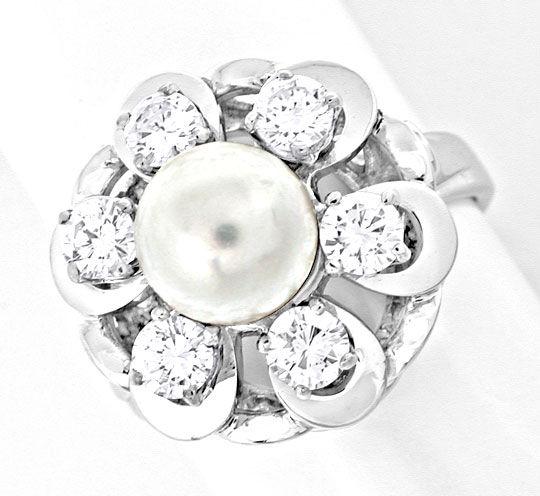 Foto 2, Brillant-Akoya-Zuchtperl-Ring 1A-Handarbeit Luxus! Neu!, S8786