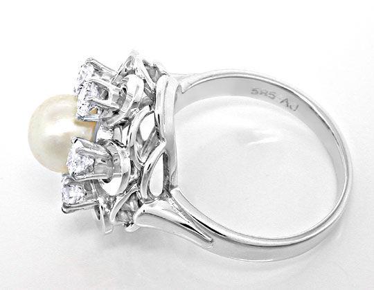 Foto 3, Brillant-Akoya-Zuchtperl-Ring 1A-Handarbeit Luxus! Neu!, S8786