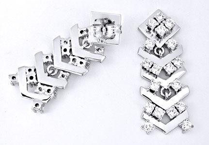 Foto 1, Brillant-Ohrgehänge Handarbeit 18K Weissgold Luxus! Neu, S8787