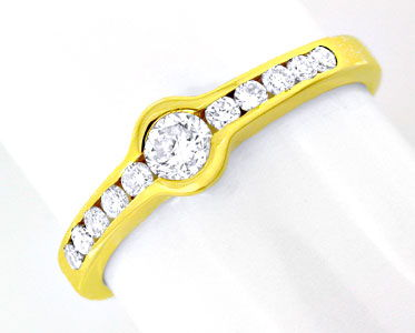 Foto 1, 1A-Spann-Brillant-Ring 0,37ct River Gelbgold Luxus! Neu, S8788