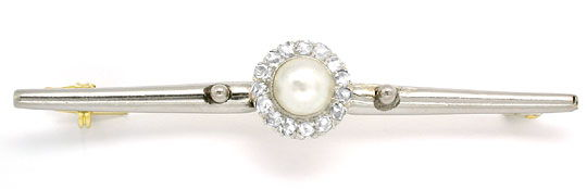 Foto 1, Perl-Diamant-Anstecknadel 15Karat Luxus! Original antik, S8802