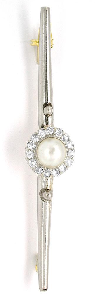 Foto 2, Perl-Diamant-Anstecknadel 15Karat Luxus! Original antik, S8802