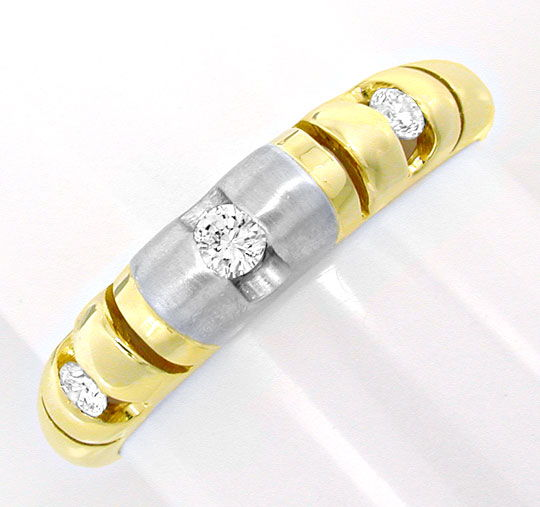 Foto 2, Brillant Bandring, Top Design! 18K Zweifarbig Shop Neu!, S8803