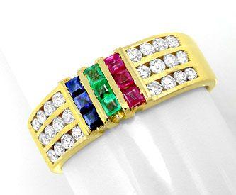 Foto 1, Brillantring Gold Safire Rubine Smaragde 18K Luxus! Neu, S8805