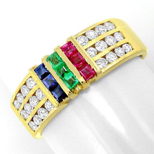 Foto 2, Brillantring Gold Safire Rubine Smaragde 18K Luxus! Neu, S8805