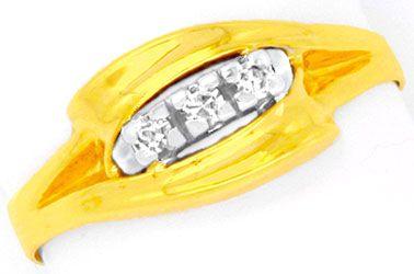 Foto 1, Diamantring Gelbgold Weissgold 0,11 Diamanten Shop Neu!, S8807