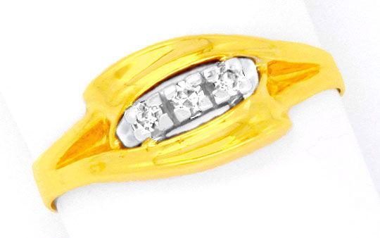 Foto 2, Diamantring Gelbgold Weissgold 0,11 Diamanten Shop Neu!, S8807