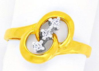 Foto 1, Diamantgoldring Gelbgold Weissgold 3 Diamanten Shop Neu, S8808