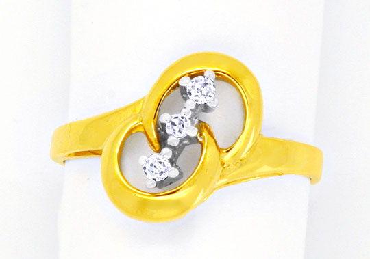 Foto 2, Diamantgoldring Gelbgold Weissgold 3 Diamanten Shop Neu, S8808