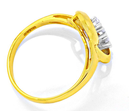Foto 3, Diamantgoldring Gelbgold Weissgold 3 Diamanten Shop Neu, S8808