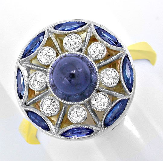 Foto 2, Echt alter Diamant-Safir-Ring Gold-Platin Luxus! Neuw.!, S8809