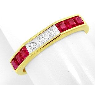 Foto 1, Diamant-Ring Traum-Spitzen-Rubine 14K-Gelbgold Shop Neu, S8813