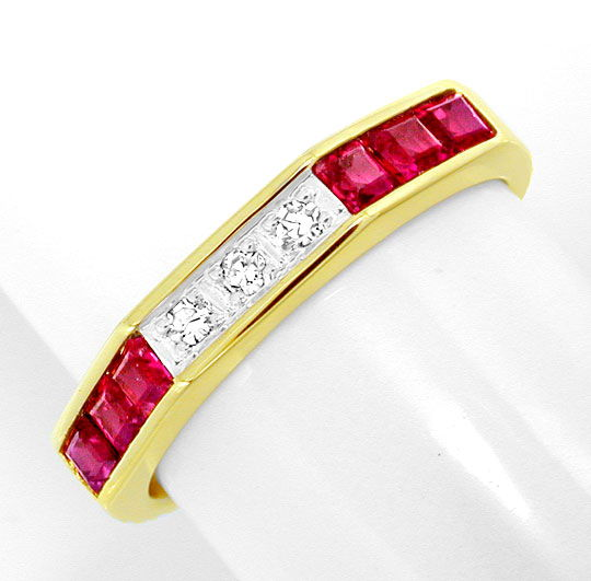 Foto 2, Diamant-Ring Traum-Spitzen-Rubine 14K-Gelbgold Shop Neu, S8813