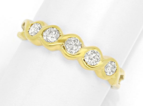 Foto 2, Halbmemory-Ring Gelbgold 0,40 Carat Diamanten Shop Neu!, S8820