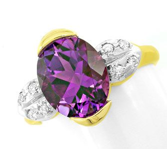 Foto 1, Brillant-Ring, einmaliger Spitzen-Amethyst! Luxus! Neu!, S8821