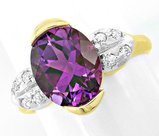 Foto 2, Brillant-Ring, einmaliger Spitzen-Amethyst! Luxus! Neu!, S8821