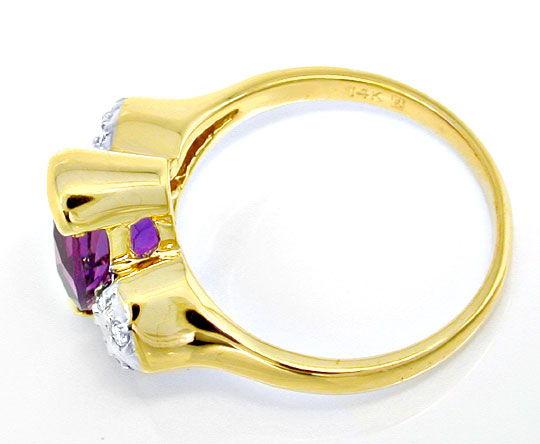 Foto 3, Brillant-Ring, einmaliger Spitzen-Amethyst! Luxus! Neu!, S8821