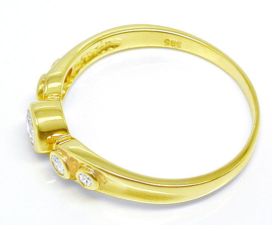 Foto 3, Goldschmuck, Toller Brillant-Goldring 14K-Gelb Shop Neu, S8823