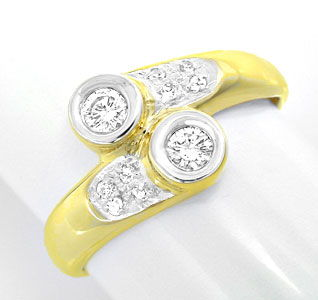 Foto 1, Sehr repräsentativer Diamantring 14K-Gelb-Gold Shop Neu, S8824