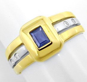 Foto 1, Diamant Safir Ring, Brillanten Saphir Bicolor Shop Neu!, S8825