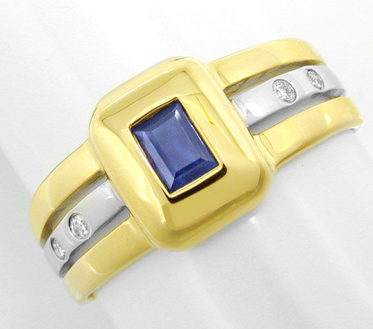 Foto 2, Diamant Safir Ring, Brillanten Saphir Bicolor Shop Neu!, S8825