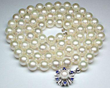 Foto 1, Akoya-Perlenkette; Safir-Perl-Schloss; Weissgold Luxus!, S8826
