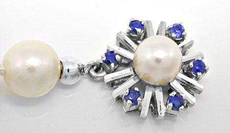 Foto 3, Akoya-Perlenkette; Safir-Perl-Schloss; Weissgold Luxus!, S8826