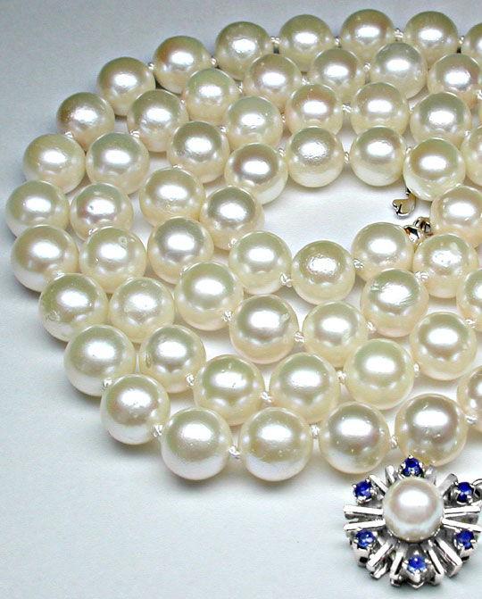 Foto 4, Akoya-Perlenkette; Safir-Perl-Schloss; Weissgold Luxus!, S8826