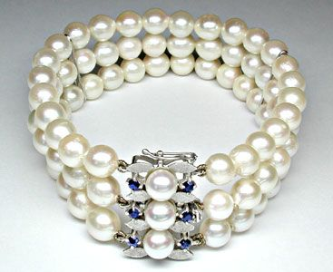 Foto 1, Perlen-Armband; massives Weissgold-Safir-Schloss Luxus!, S8827