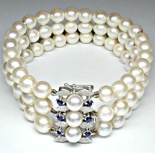 Foto 2, Perlen-Armband; massives Weissgold-Safir-Schloss Luxus!, S8827