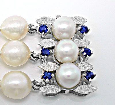 Foto 3, Perlen-Armband; massives Weissgold-Safir-Schloss Luxus!, S8827