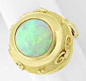 Foto 1, Opal-Handarbeits-Ring Super-Edel-Milch-Opal Luxus! Neu!, S8831