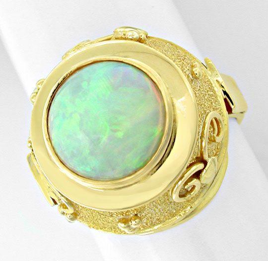Foto 2, Opal-Handarbeits-Ring Super-Edel-Milch-Opal Luxus! Neu!, S8831
